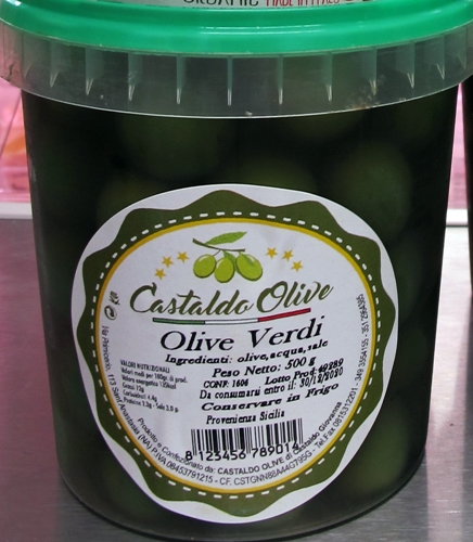 Sicilianska gröna oliver - 500g plastburk